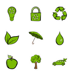 environmental icons set cartoon style vector image