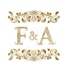 F and a vintage initials logo symbol vector