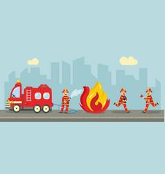 fireman extinguishing fire concept vector image