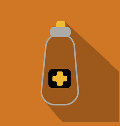 Flat bottle with medical pills icon health care vector