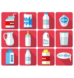 Flat icons with long shadow of milk vector