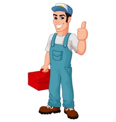 Friendly Mechanic with toolbox giving thumbs up vector image