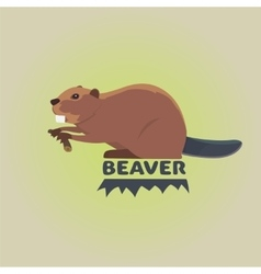 Funny cartoon beaver cartoon style vector