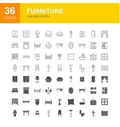 furniture line web glyph icons vector image