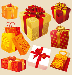 Gift boxes with red and gold ribbons vector