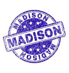Grunge textured madison stamp seal vector