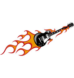 Guitar with flames and fire vector