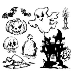 halloween drawings collection 1 vector image