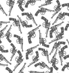 Hand Drawn Revolver Gun Seamless Pattern vector image