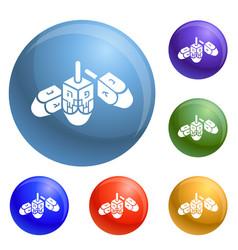 Hanukkah dreidel icons set vector