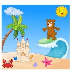 Happy bear cartoon surfing vector image