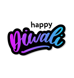 happy diwali handwritten brush black text gold vector image