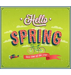 Hello spring typographic design vector