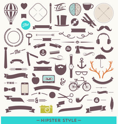 Hipster style set vector