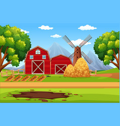 House in farmland landscape vector