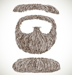 Lush retro mustache and beard vector