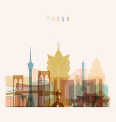 Macau skyline detailed silhouette vector