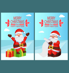 merry christmas happy new year santa with presents vector image