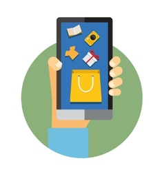 Mobile phone with internet or online shopping vector image