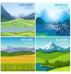 Mountain landscape compositions set vector