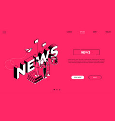 News creation colorful landing page vector