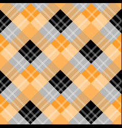 orange plaid tartan fabric pattern fabric vector image
