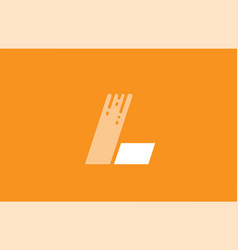 orange white alphabet l letter logo design icon vector image