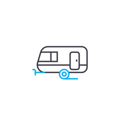 passenger trailer thin line stroke icon vector image