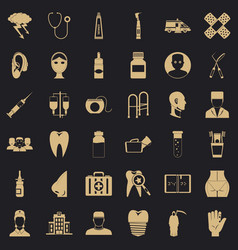 Pharmaceuticals icons set simple style vector