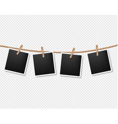 Photos on the rope transparent background vector