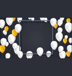 Poster background with white yellow balloons and vector