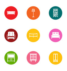 Recliner icons set flat style vector