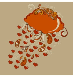 red cloud with hearts rain vector image