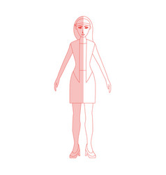 red silhouette shading cartoon full body woman vector image