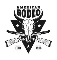 rodeo emblem with bull skull and two rifles vector image