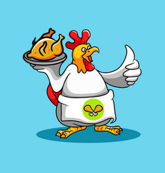 rooster chef cook fried chicken vector image