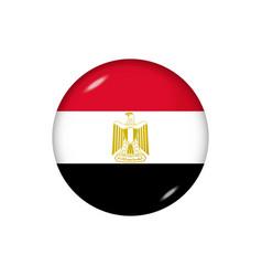 Round flag egypt button icon vector