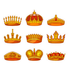 royal golden crowns sketch heraldic icons vector image