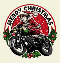Santa claus riding motorcycle badge vector