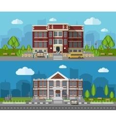 School Flat Banner vector