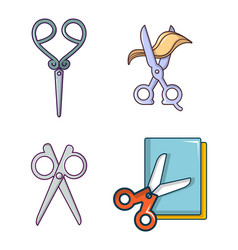 scissors icon set cartoon style vector image