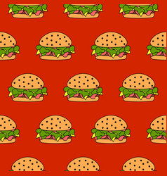seamless burger pattern fast food vector image