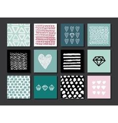 Set 12 creative art cards hand drawn textures vector