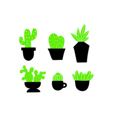 set of black and green home plants vector image