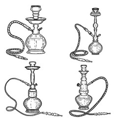 set of hookah on white background design elements vector image