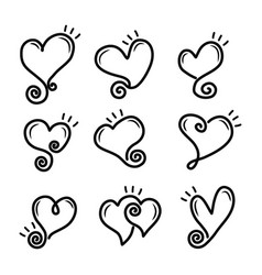 set outline hand drawn heart vector image