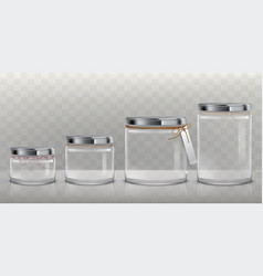 Set transparent glass jars for storage vector