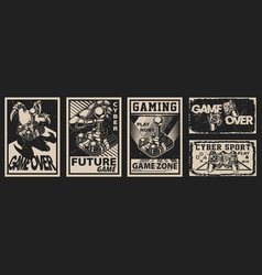 Set vintage posters on theme gaming vector