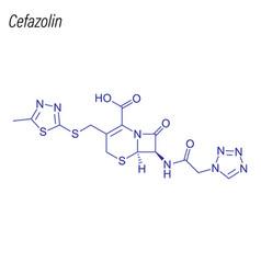 Skeletal formula cefazolin drug chemical vector