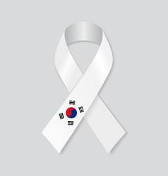 south korean flag stripe ribbon on white vector image